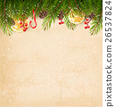 Christmas decoration on old paper background. 26537824