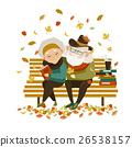 Old couple in love sitting on bench 26538157