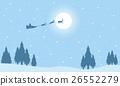 Silhouette of Santa with train deer on sky 26552279