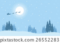 Santa with train deer on the sky silhouettes 26552283