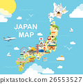 Japan travel map in flat illustration. 26553527