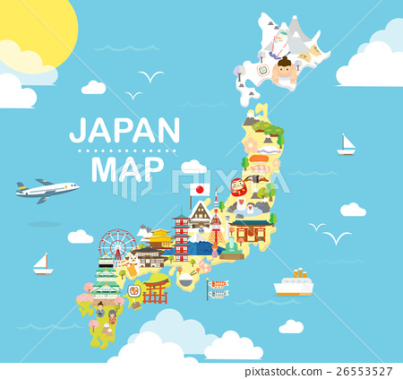 Japan travel map in flat illustration. 26553527