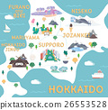 Hokkaido travel map in flat illustration. 26553528