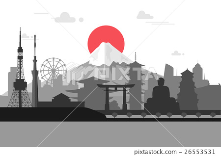 Silhouette illustration of Tokyo city in Japan. 26553531