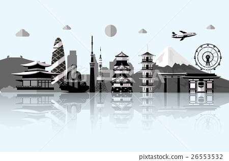 Silhouette illustration of Tokyo city in Japan. 26553532