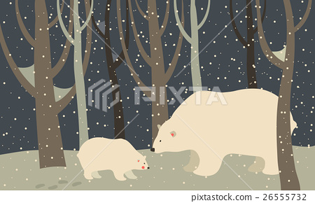 Polar bear and cub in the forest 26555732