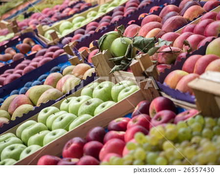 Stock Photo: Full frame background of various fruits at a
