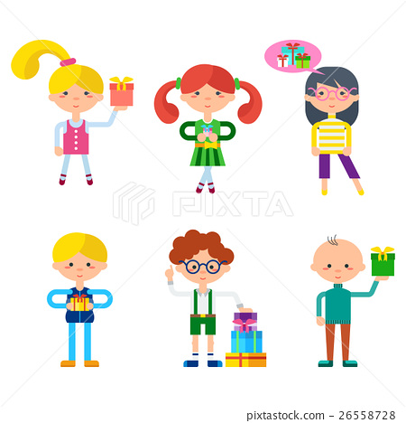 Children Cartoon Characters Vector Set 26558728