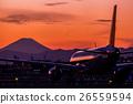 飞机 富士山 剪影 26559594