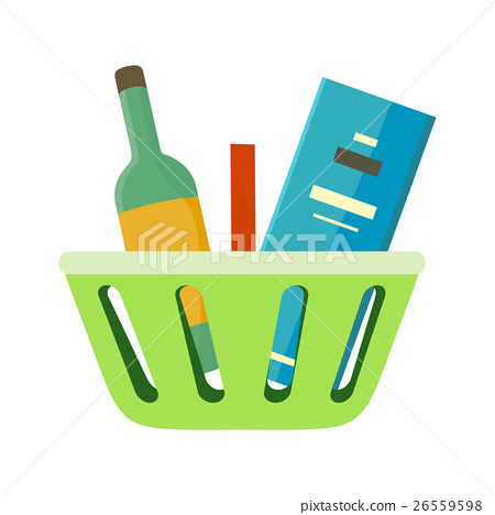 Shopping Basket with Goods Vector Illustration. 26559598