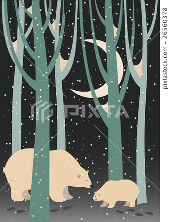 Polar bear and cub in the forest 26560378