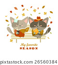 Couple of cats sitting on bench reading books and 26560384