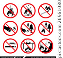 Set of open fire prohibition signs 26561080
