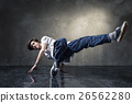 urban hip hop dancer over grunge concrete wall 26562280