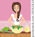 Woman healthy cooking with salad bowl  26562810