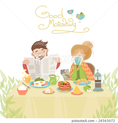 Couple in love having breakfast 26563072