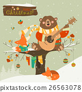 Cute bear and little fox celebrating Christmas 26563078