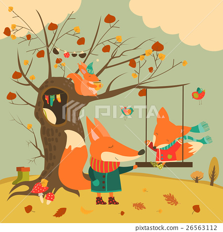 Cute foxes ride on a swing in the autumn forest 26563112
