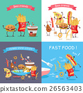 Fast Food Cartoon Characters Banner Set 26563403