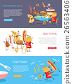 Fast Food Cartoon Characters Banner Set 26563406