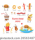 Set of Fast Food Products Vector in Flat Design 26563487