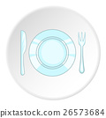 Plate with knife and fork icon, cartoon style 26573684
