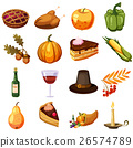 Thanksgiving Day icons set, cartoon style 26574789