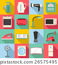 Household appliances icons set, flat style 26575495