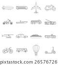 Transportation icons set, outline style 26576726
