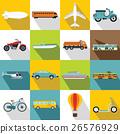 Transportation icons set, flat style 26576929