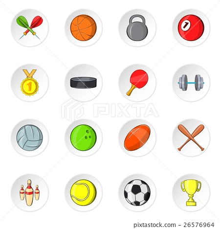 Sport equipment icons, cartoon style 26576964