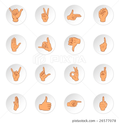 Hand gesture icons, cartoon style 26577078