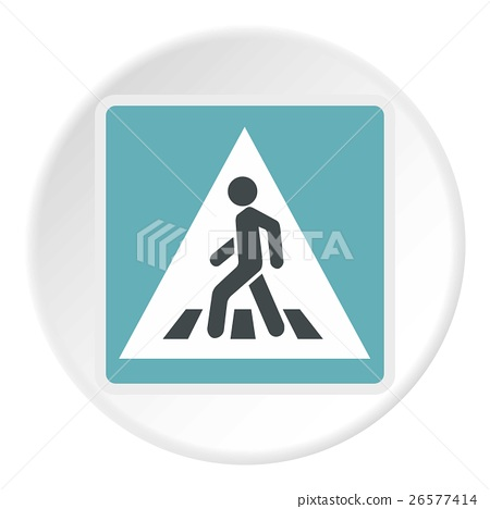 Sign pedestrian crossing icon, flat style 26577414