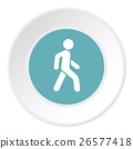 Man on pedestrian crossing icon, flat style 26577418