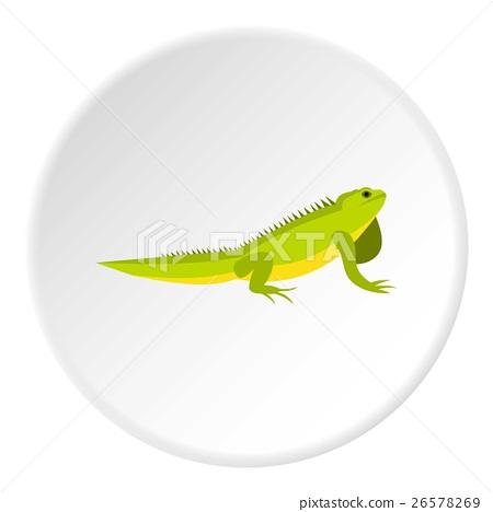 Iguana icon, flat style 26578269