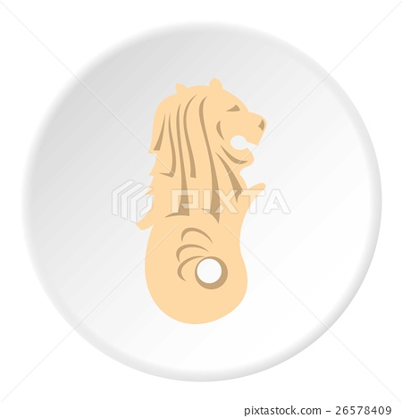 Statue of lion fish Merlion icon, flat style 26578409