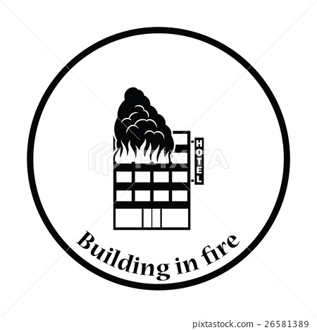 Hotel building in fire icon 26581389