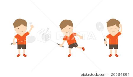 Badminton player man action set 26584894