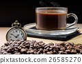 Coffee time concept with vintage pocket watch  26585270