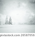Christmas background with snowy fir trees 26587056