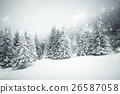 Christmas background with snowy fir trees 26587058