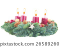 advent wreath with burning candles 26589260