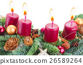 advent wreath with burning candles 26589264