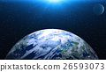 Planet Earth in space. Globe in galaxy. 26593073