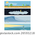 Set in flat landscape style. Snow-capped mountains 26593218