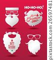 Santa Claus beard Hipster style set. 26597481