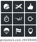 Vector Set of Skydiving Icons.  26599406