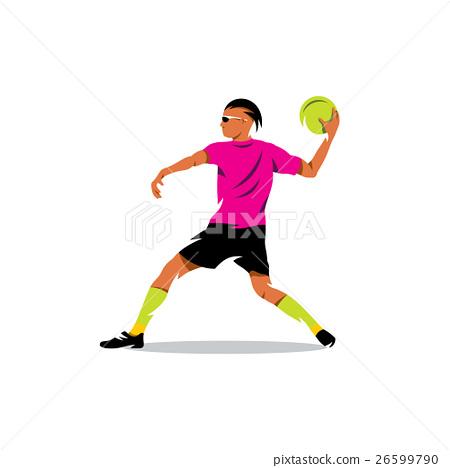 Vector Dodgeball Cartoon Illustration. 26599790
