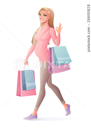 Vector pregnant woman walking with shopping bags 26600828