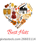 Best hits heart vector icon of musical instruments 26603114